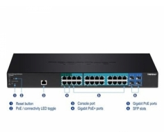 Switch 28-port Gigabit POE+ Managed Layer 2 Switch with 4 shared SFP slots
